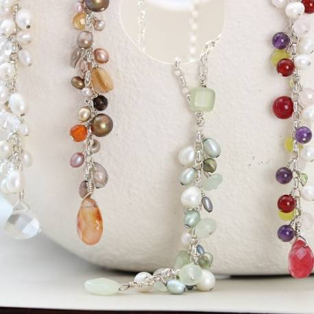 handmade gemstone and pearl dangle necklace on sterling silver chain, beautiful jewellery gift ideas for her birthday