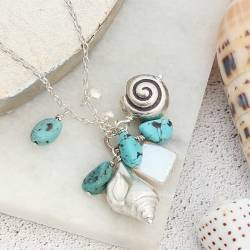 silver seashell charm necklace with pearl and turquoise nuggets, summer jewellery gift ideas for her