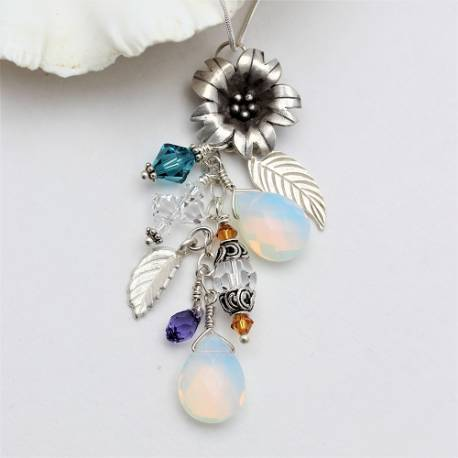 titania charm necklace with flower charms and swarovski crystals, a gorgeous jewellery gift for her
