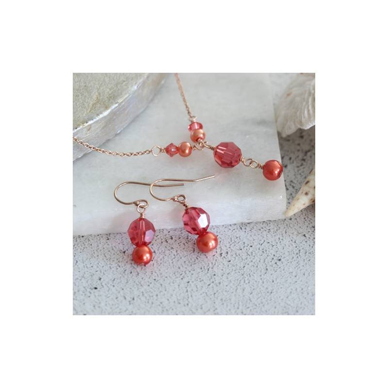 Pretty Crystal Red Coral rose Flower Pendant Earring Ring lady/'s set
