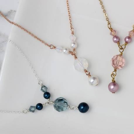 Cassio swarovski pearl and crystal necklaces on silver, rose gold or gold chain, affordable delicate jewellery gift ideas