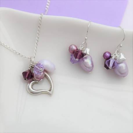 silver heart jewellery set, necklace and matching drop earrings with mauve pearls and swarovski crystals