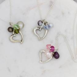 silver heart necklaces with pearls and swarovski crystals in pink, green and pale blue, perfect bridesmaids jewellery gifts