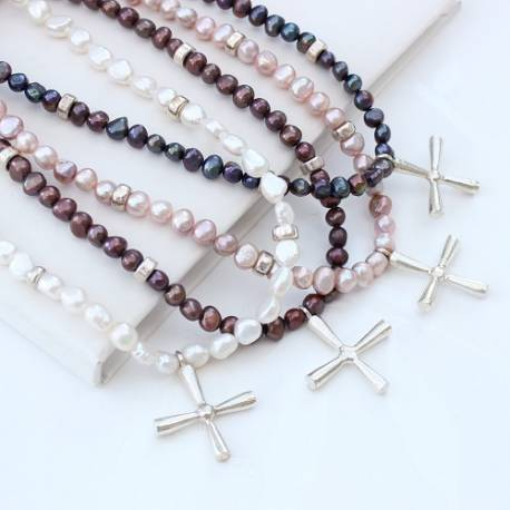 abbess pearl necklaces with celtic silver cross in pink, white, chocolate and peacock, a modern pearl necklace