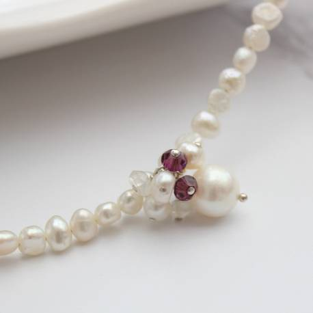 adrianna white pearl choker necklace with amethyst crystal perfect jewellery gifts for a february birthday