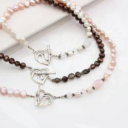ariel pearl and crystal choker necklaces with decorative heart clasp, pretty pearl jewellery gift ideas