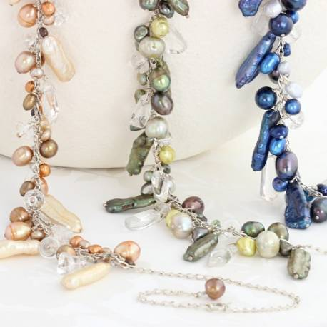 assorted pearl necklaces on silver chain in gold, green or blue,modern pearl jewellery gift idea for her.