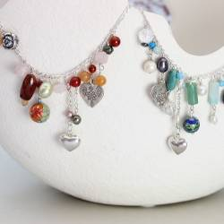 gemstone and silver charm necklaces, pretty jewellery gift ideas for her birthday