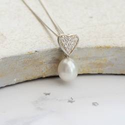 dewdrop teardrop white pearl and diamante heart pendant on a silver chain, pretty delicate pearl jewellery