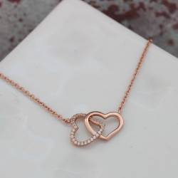 entwined double heart necklace in rose gold, romantic jewellery gift ideas for her