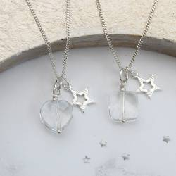 faceted crystal gemstone pendant necklace silver star charm, jewellery gifts for birthday or Christmas