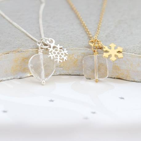 faceted crystal necklace with snowflake charm in silver or gold chain