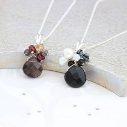 gemstone pendant necklaces on silver chain with pearl and gemstone cluster, delicate jewellery gifts for her