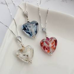 handmade brightly coloured harlequin glass heart necklace on silver chain, heart shaped jewellery birthday gift ideas for wife