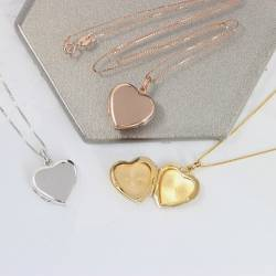 heart photo locket necklace in sterling silver rose gold and gold vermeil