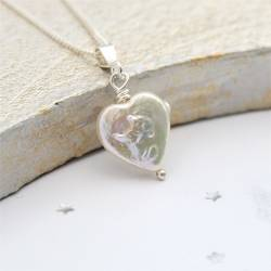 heart shaped white pearl necklace, pearl jewellery gift idea for an anniversary, birthday or Valentines