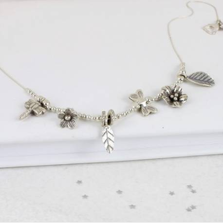 keimau silver butterfly, dragonfly, flower and leaf charm necklace on a fine chain, delicate nature inspired jewellery gifts