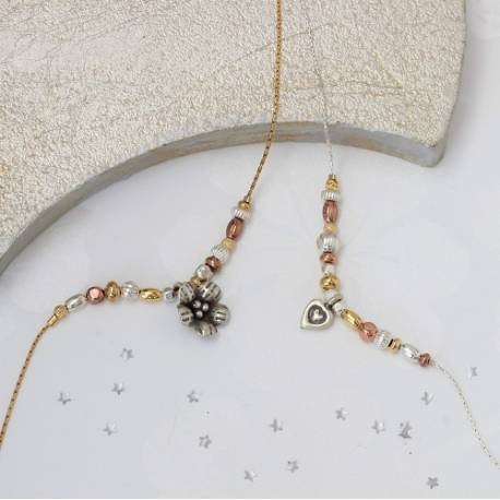 keimau silver, rose gold and gold beads with a flower or heart charm on a fine chain, delicate jewellery gift ideas for a friend