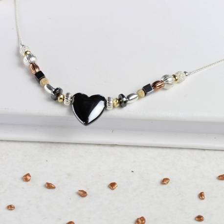 keimau hematine heart necklace with silver gold and rose gold beads on a fine chain, heart jewellery gifts for a loved one
