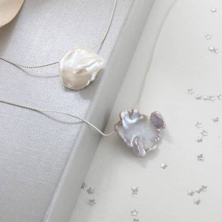 keimau white or silver grey keshi pearl necklace on fine silver chain, delicate pearl jewellery gifts for her