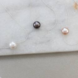 keimau single pink, white or gunmetal grey pearl necklace on a fine silver chain, delicate pearl jewellery gift ideas