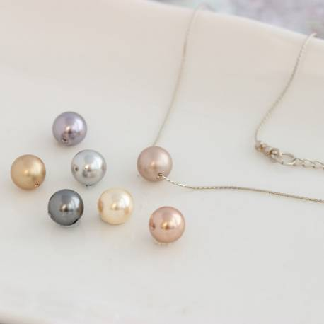 keimau handmade fine silver choker necklace with silver, grey, gold and champagne swarovski pearl, delicate jewellery gifts