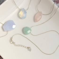 keimau single gemstone teardrop necklace on a fine silver chain, delicate silver and pastel coloured gemstone jewellery