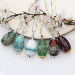 lampwork murano glass egg pendants on silver chain, handmade unique jewellery gifts for her