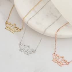 lotus flower necklace in sterling silver, rose gold or gold vermeil, meaningful jewellery gifts for friends
