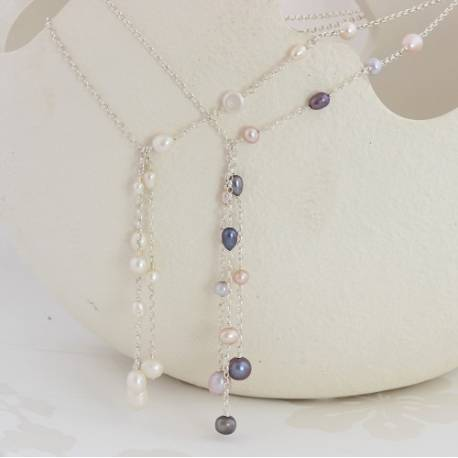 luna white or pastel pearls tassel necklace on a silver chain, gorgeous modern jewellery gifts for a wife or mum