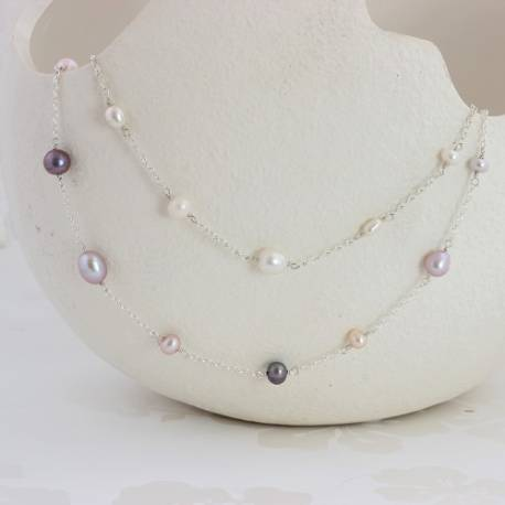 luna white or pastel pearl necklace on a silver chain, simple delicate jewellery gift ideas she will treasure