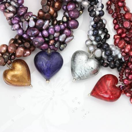 statement red, purple, black diamond or gold murano glass heart and pearl necklace, dramatic jewellery for special occasions