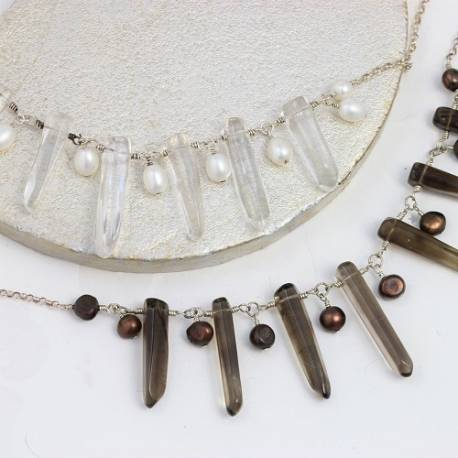 octavia dramatic crystal or smokey quartz point and pearl necklace, unusual handmade crystal jewellery gift ideas