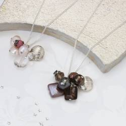Chocolate Pearl Cluster Necklace