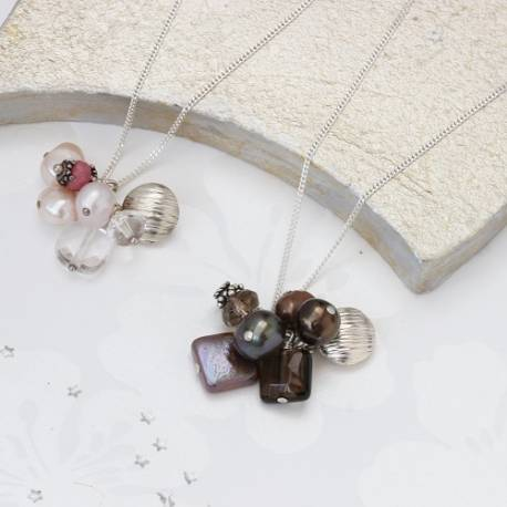 pearl cluster and silver charm necklace in pink or chocolate brown, gorgeous pearl jewellery gifts for her