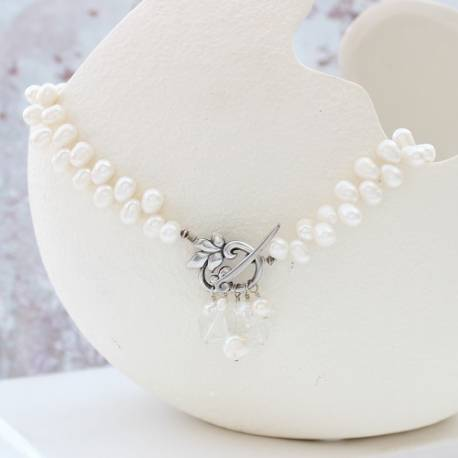 white pearl choker necklace with decorative clasp and crystal gemstones, vintage jewellery ideas
