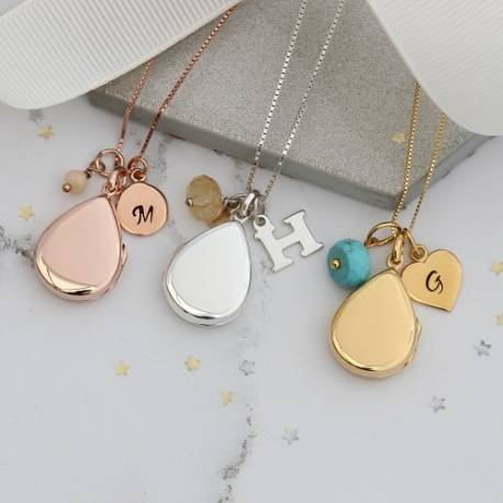 teardrop silver rose gold and gold locket with october, november and december birthstones, personalised birthday gifts