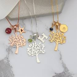 tree of life necklace, silver, rose gold or gold with july august or september birthstone personalised jewellery gift idea