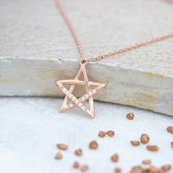 rose gold star and pave crystal necklace delicate jewellery gift ideas for her birthday or Christmas