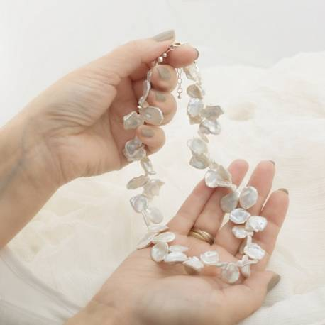 modern white keshi pearl choker necklace, unusual pearl jewellery gift ideas or for special occasions