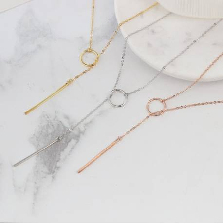 very long chain lariat necklace in rose gold, gold or sterling silver, modern boho jewellery for summer