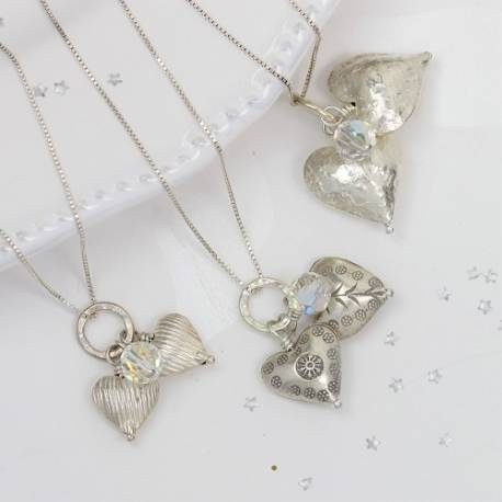 silver double heart necklace with swarovski crystals, silver jewellery gift ideas for valentines