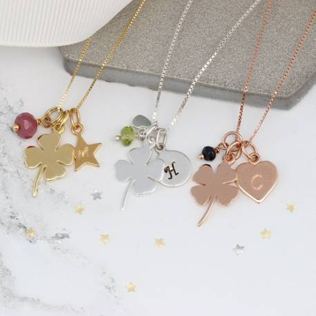 Personalised Silver 4 leaf Clover Necklace with Birthstones