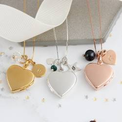 heart locket necklace in silver rose gold and gold with april, may and june birthstone, birthday gifts for her