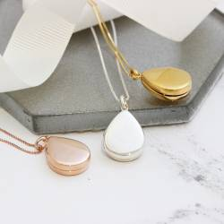 teardrop photo locket necklace in sterling silver, rose gold and gold, modern jewellery gift for her