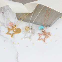 star necklace in silver rose gold or gold with october, november or december birthday jewellery gifts