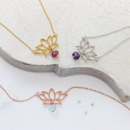 Lotus Flower Necklace with Birthstones