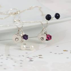 silver heart charm necklace and earrings with purple and pink crystal, personalised jewellery set for a birthday gift