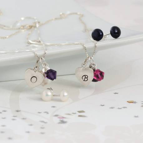 Personalised Pearl and Heart Necklace