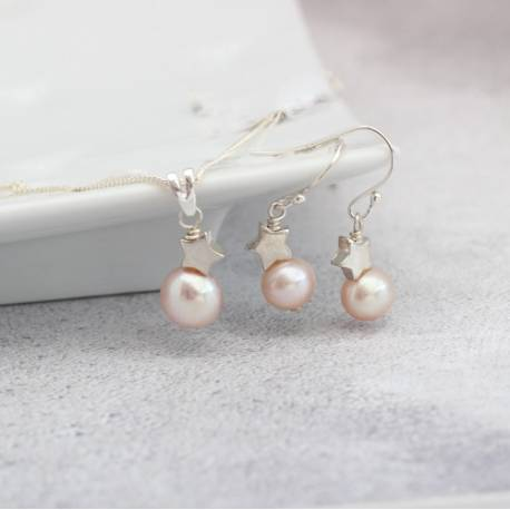 pink pearl pendant with silver star and matching pearl drop earrings, jewellery set for her birthday gift